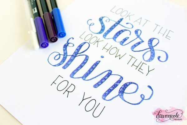 Starry-Night hand lettering